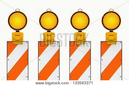 Yellow traffic warning lamps background isolated on white. clipping path, 3d rendering