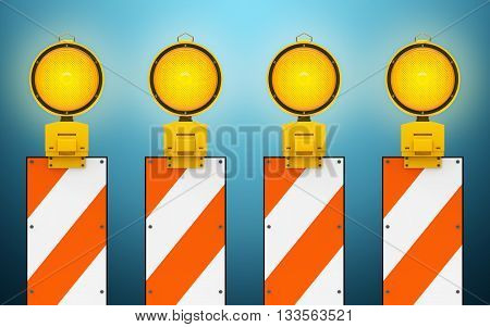 Yellow traffic warning lamps background, 3d rendering
