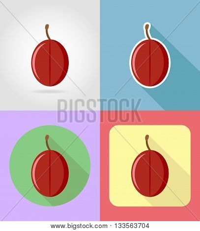 plum fruits flat set icons with the shadow vector illustration isolated on background