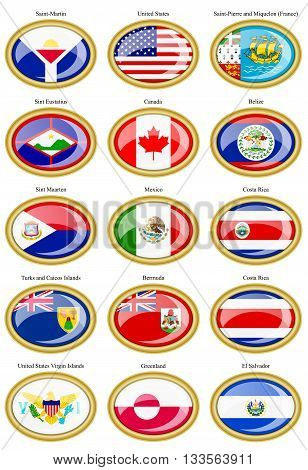 North And Central America's Flags