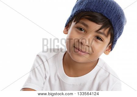 Head shot of a young male model wearing a knit hat and white tee shirt. Isolated on white with room for your text.