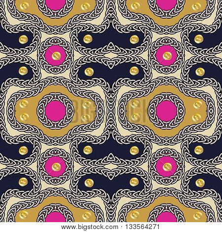 Seamless pattern - decorative embroidery with geometrical drawing and with gold sequins. Vector illustration.
