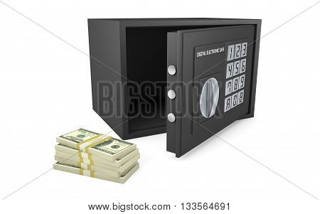 Open electronic safe with stack of money isolated on white with clipping path, 3d rendering