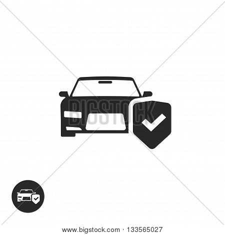 Car protection vector icon isolated, black and white auto protected with shield label, concept of car insurance symbol