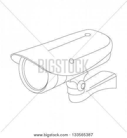 Surveillance Camera Line Icon.  video cam symbol. Surveillance camera isolated on white background vector illustration