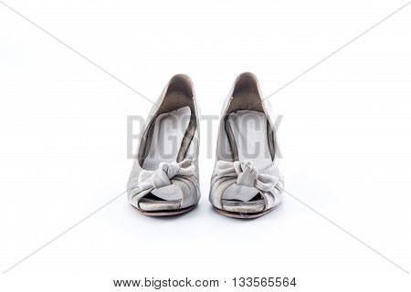 grunge women shoes on whit background .