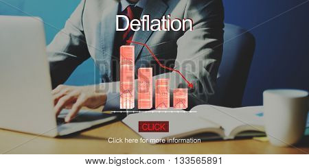 Problems Risk Deflation Depression Bankruptcy Concept