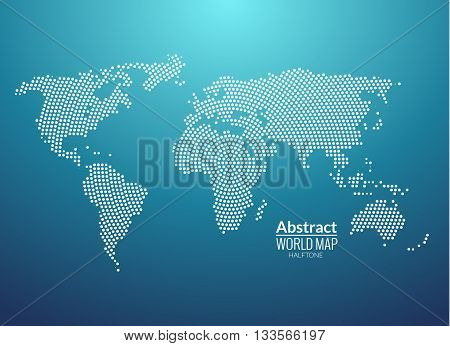 3d abstract world map planet, dot, global radial halftone concept.