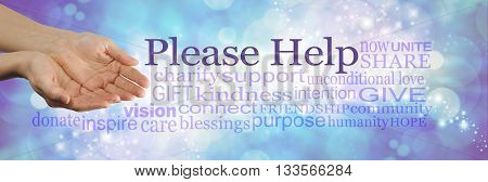 Please help our cause - campaign banner with female cupped hands on left and a word cloud surrounding 'PLEASE HELP' on a blue bokeh sparkling background
