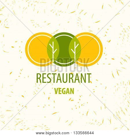 Vector template logo. Restaurant logo. Vegan restourant. Image of three circles that resemble plates at their intersection trees and leaves. Shades of yellow and green.