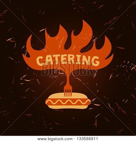 Illustration For Catering Menu Cafe With Sparks Of Fire On Backg