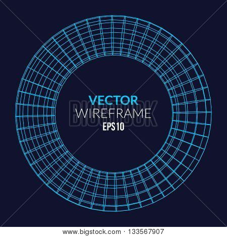 Abstract vector wireframe sphere glowing on dark background.