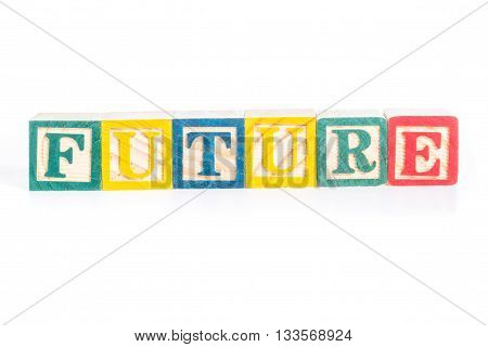 FUTURE with colorful alphabet blocks on white background