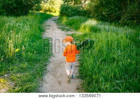 child running along a path in a park. boy plucked and carries bunch of grass in his hands. view from the back
