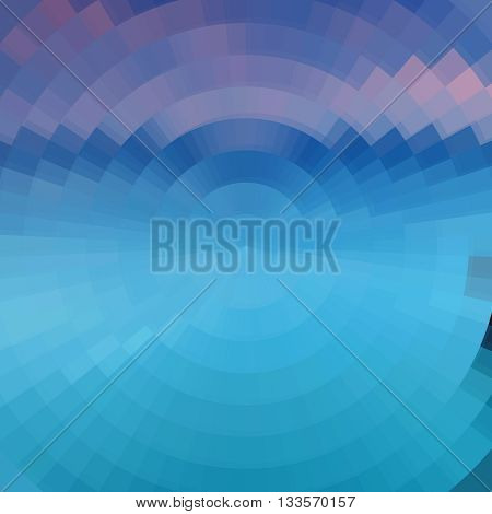 Abstract Blue ocean sea concentric circle shine mosaic vector background. Technology concept wallpaper.