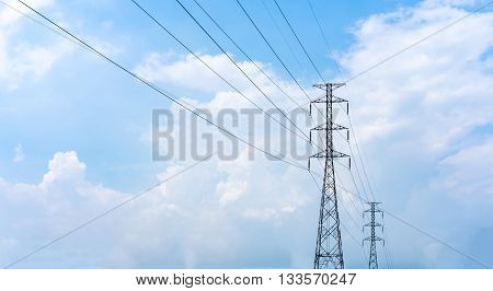 High Voltage Power Lines With Partly Cloudy Blue Sky In The Background