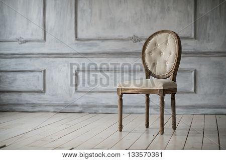 Antique white sofa fretwork wall on backround