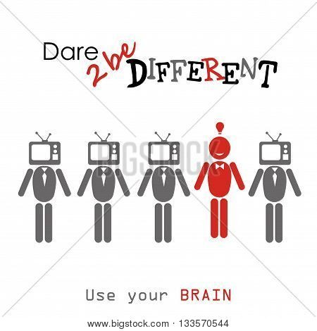 Dare to be diferent.man with TV head one different vector illustration