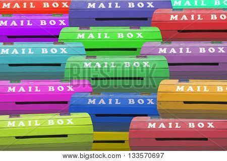 Colorful mail boxs,many colurful mail box for background