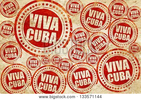 viva cuba, red stamp on a grunge paper texture