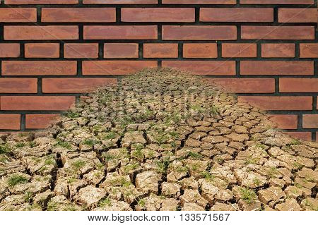 Concept brick walls blocking droughtCracks during of the soil( trade barriers)