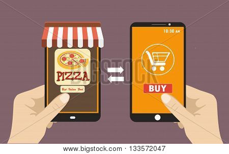 Vector flat illustration .Hand holding smart phone order pizza using a smartphone in pizzeria e-commerce on the phone.