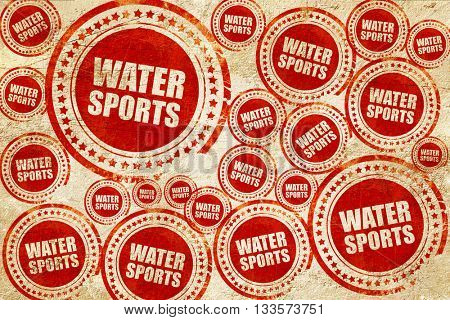 water sports, red stamp on a grunge paper texture