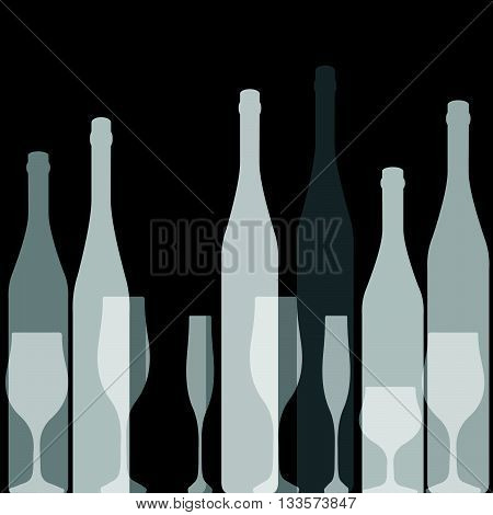 Bottles silhouette .Vector background bottle.Template for menu card. Colorful bottle on background.Alcoholic Bar menu background.
