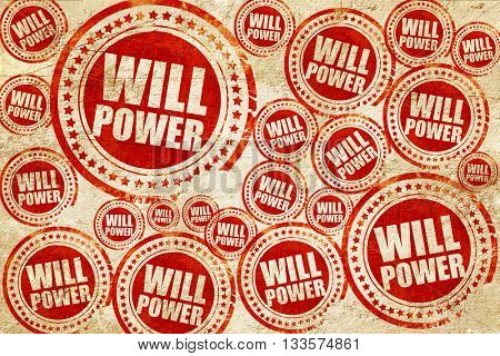 willpower, red stamp on a grunge paper texture
