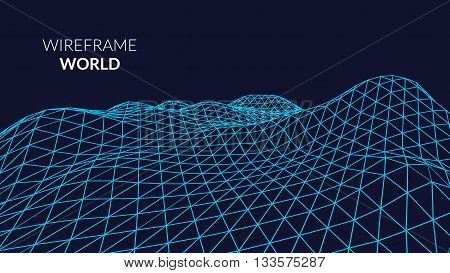 Wireframe Landscape Background. Futuristic Landscape with blue  line Grid. Low Poly 3D Wireframe Mapping. Network Cyber Technology background.