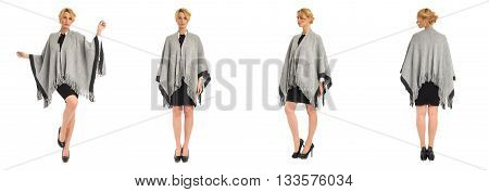 Young And Beautiful Woman In Poncho Coat Isolated