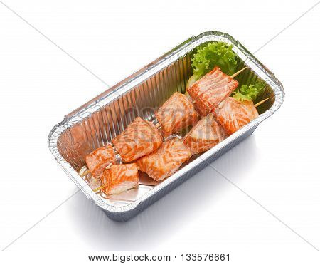 Salmon Skewers In Box Isolated On White Background