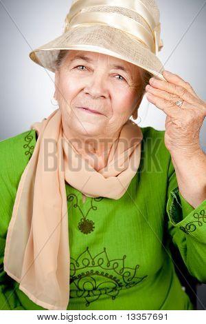 Portrait Of Happy Old Senior Woman