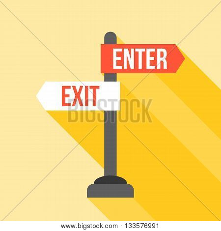 enter and exit sign post direction, flat design