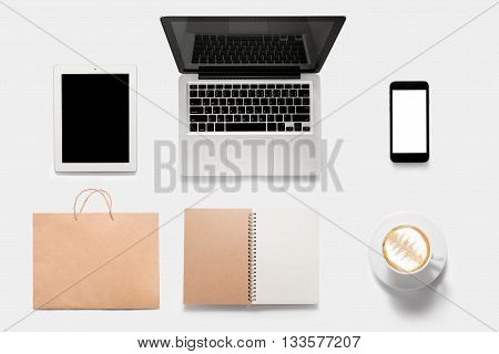 Design Concept Of Mockup Tablet, Notebook, Cell Phone, Book, Coffee Set Isolated On White Background