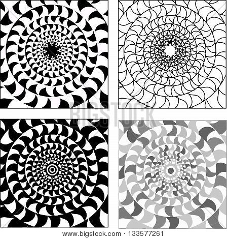 Vector set of psychedelic black-white circular mosaics ornaments. Seamless oriental pattern mandala