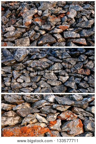 Stone wall collage-Mediterranean type of wall with rocky structure on the island of Hvar, Croatia