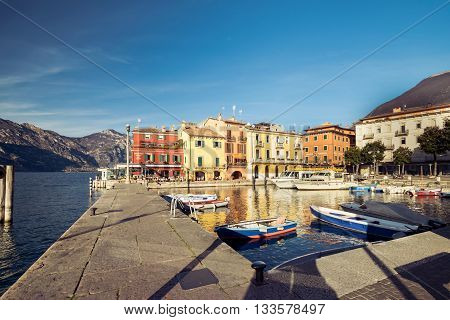Malcesine Italy - January 18 2016: Malcesine is a small town on Lake Garda (Italy). Beautiful and picturesque is called