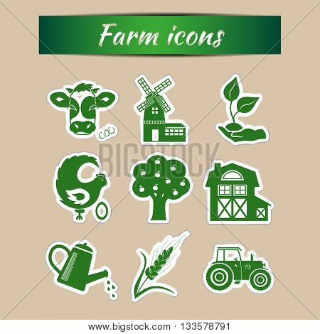 Set of green farm vector icons. Vector farm animals, farm organic product, machinery and tools on the farm.