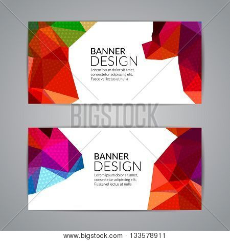 Set of polygonal triangular colorful background banners poster booklet for modern design, youth graphic concept.