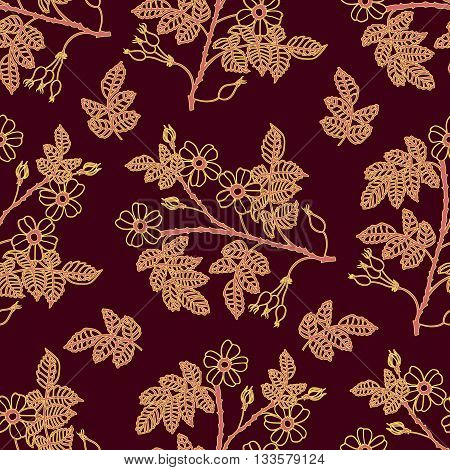 Vector dark vinous seamless pattern with eglantine roses. Vector briar seamless background.