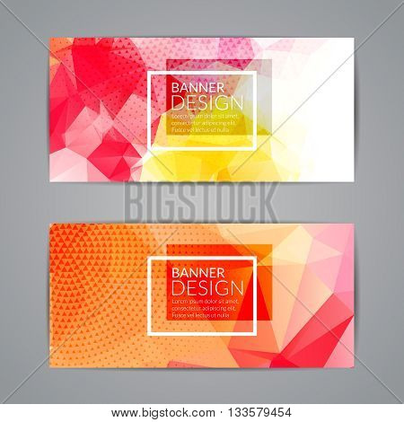 Set of orange polygonal triangular colorful background banners poster booklet for modern design, youth graphic concept.