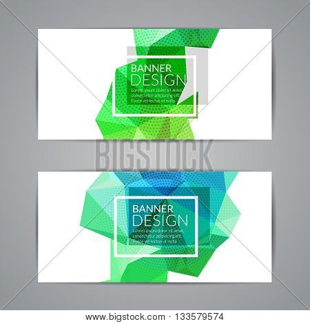 Set of green polygonal triangular colorful background banners poster booklet for modern design, youth graphic concept.