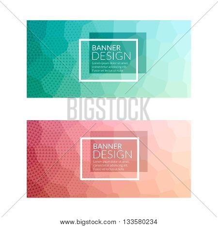 Set of polygonal colorful background banners poster booklet for modern design, youth graphic concept.