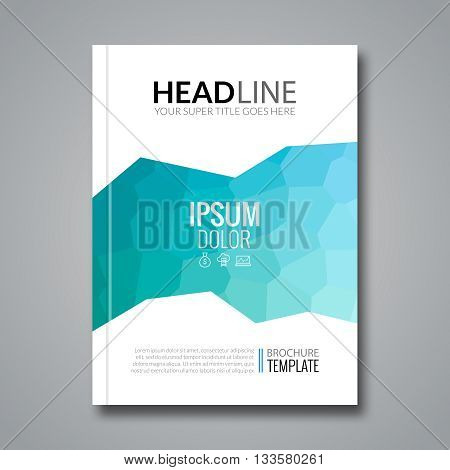 Cover report colorful aqua polygonal voronoi geometric prospectus design background, cover flyer magazine, brochure book cover template layout, vector illustration.