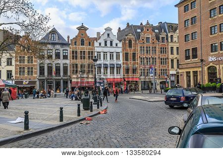 BRUSSELS, BELGIUM - MAY 10, 2013: This is place downtown with historical buildings that called Place Agora.