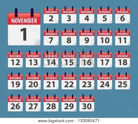 Vector stock of November Daily Calendar template icon collections