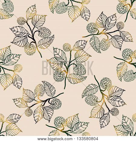 Vector seamless golden pattern with blackberries. Vector illustration.