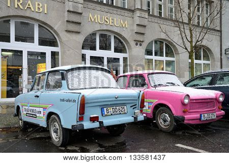 BERLIN - NOVEMBER 23: Trabant museum and also renting a car for a Trabant safari near Checkpoint Charlie on November 23, 2013 in Berlin, Germany.