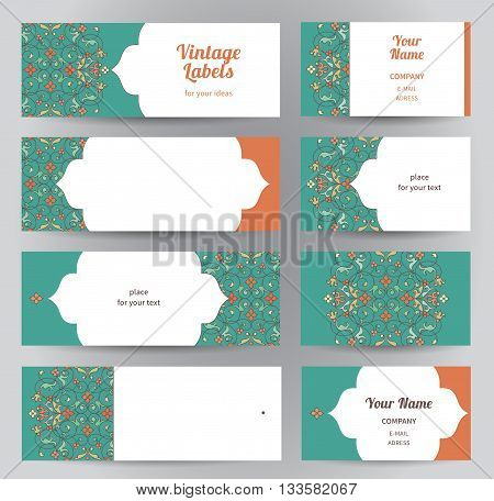 Vector Set Of Horizontal Eastern Cards.